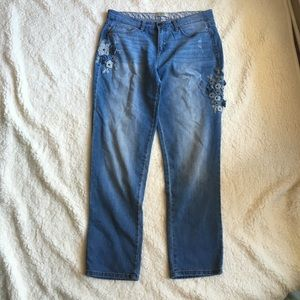 Blue jeans with flower detail